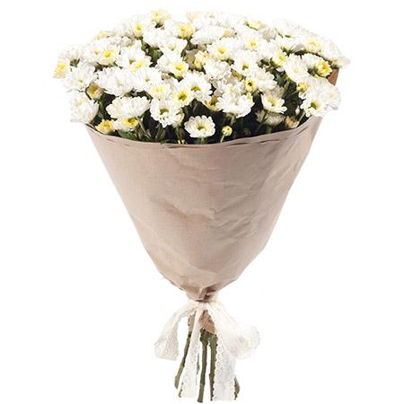 15 белых мини-хризантем