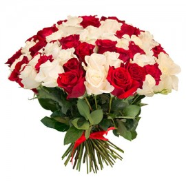 101 белая и красная роза