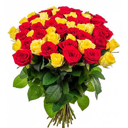 51 желтая и красная роза