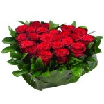Композиция «Сердце из 21 красной розы»
