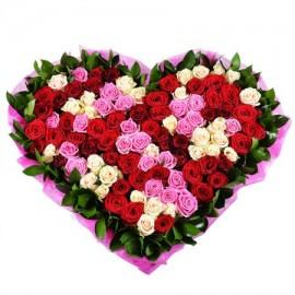 Сердце «101 роза микс»