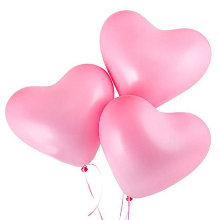 Шарики с гелием розовые «Сердце»