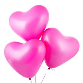 Шарики с гелием ярко-розовые «Сердце»